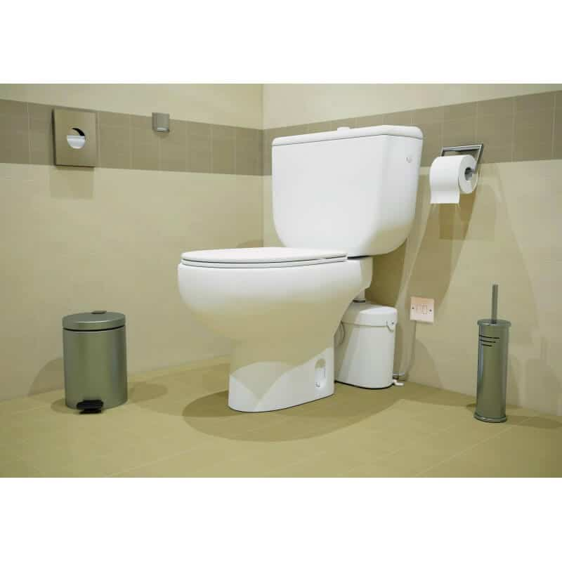 saniflow toilet system installed in public bathroom