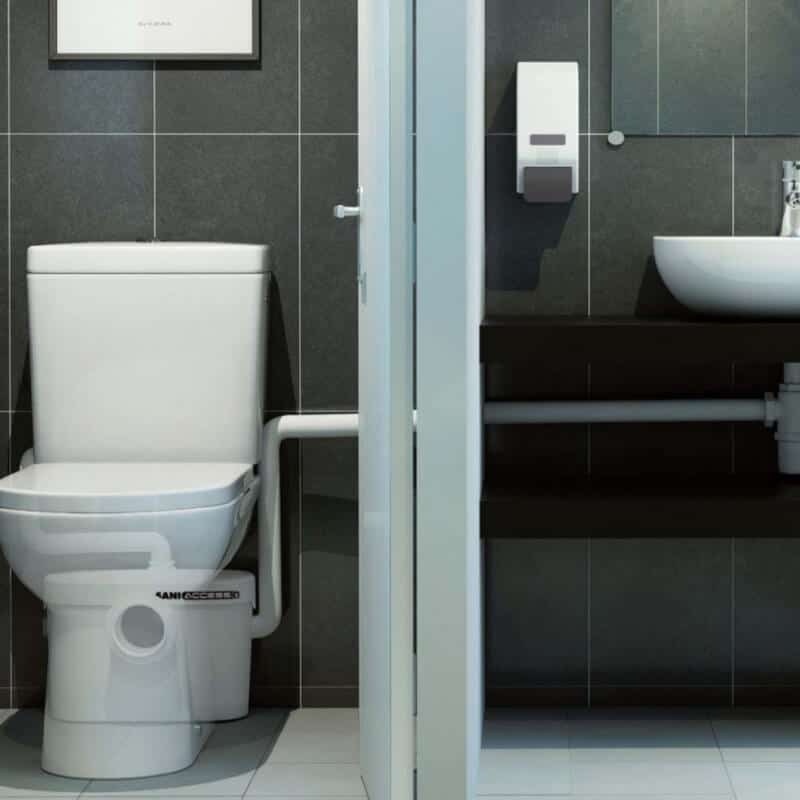 saniflo toilet system installed in bathroom