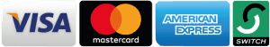 payment methods - visa, mastercard, amex, switch
