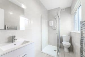 bathroom with saniflo shower